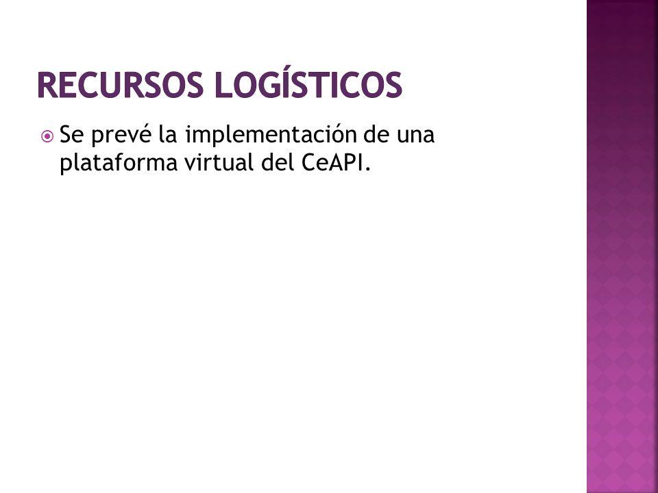 Recursos logísticos Se prevé la implementación de una plataforma virtual del CeAPI.