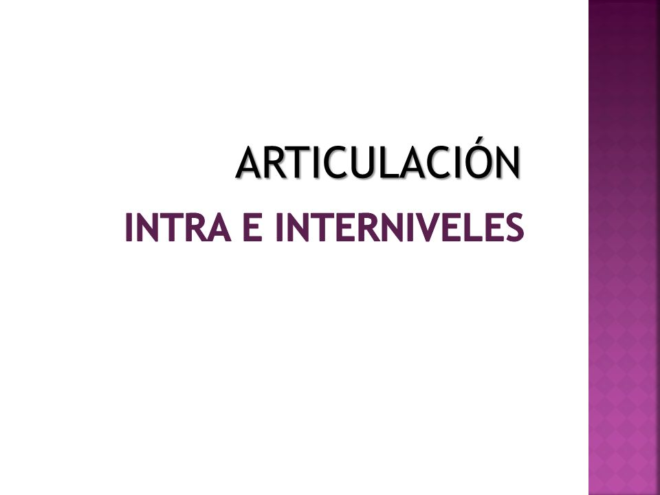ARTICULACIÓN Intra e interniveles