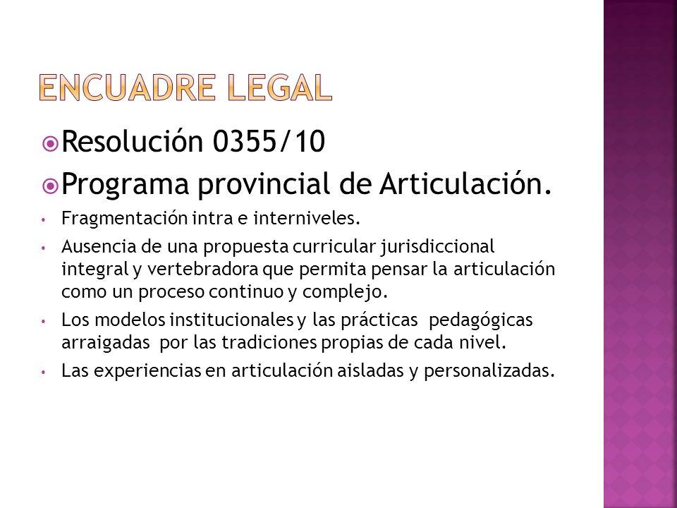 Encuadre legal Resolución 0355/10 Programa provincial de Articulación.