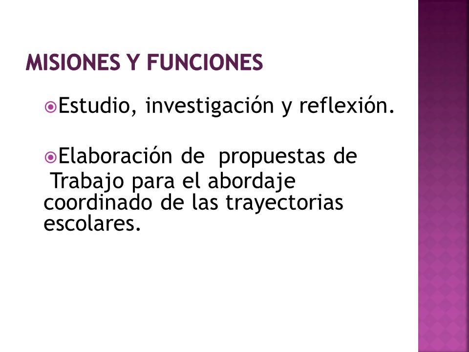 misiones y funciones Estudio, investigación y reflexión. Elaboración de propuestas de.