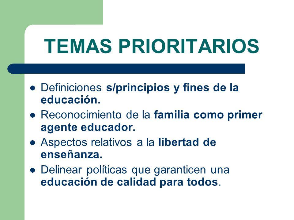 TEMAS PRIORITARIOS Definiciones s/principios y fines de la educación.