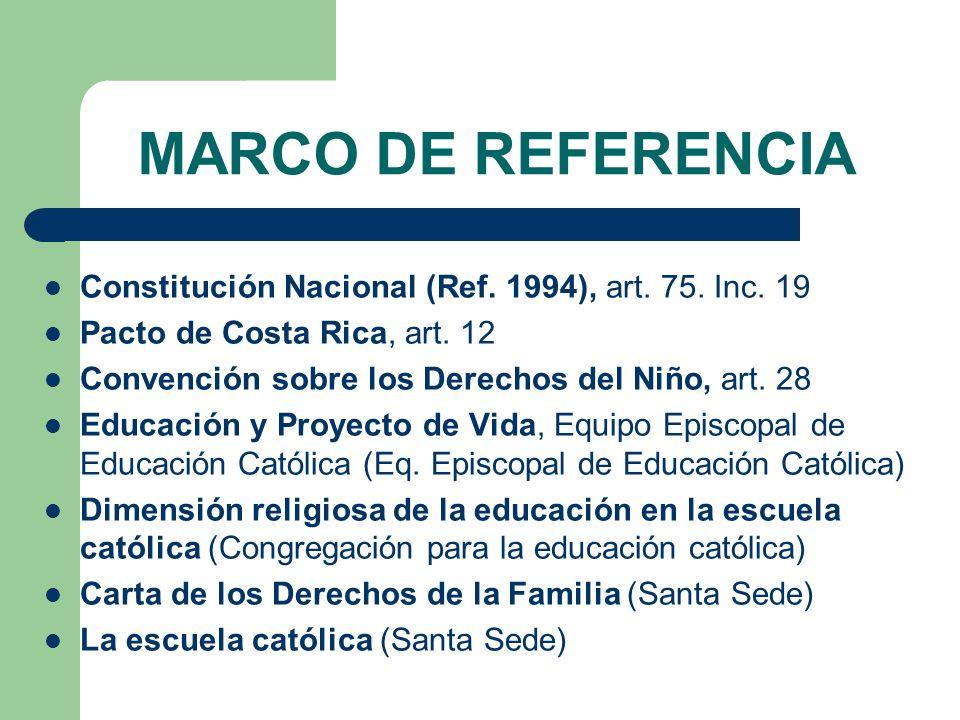 MARCO DE REFERENCIA Constitución Nacional (Ref. 1994), art. 75. Inc. 19. Pacto de Costa Rica, art. 12.