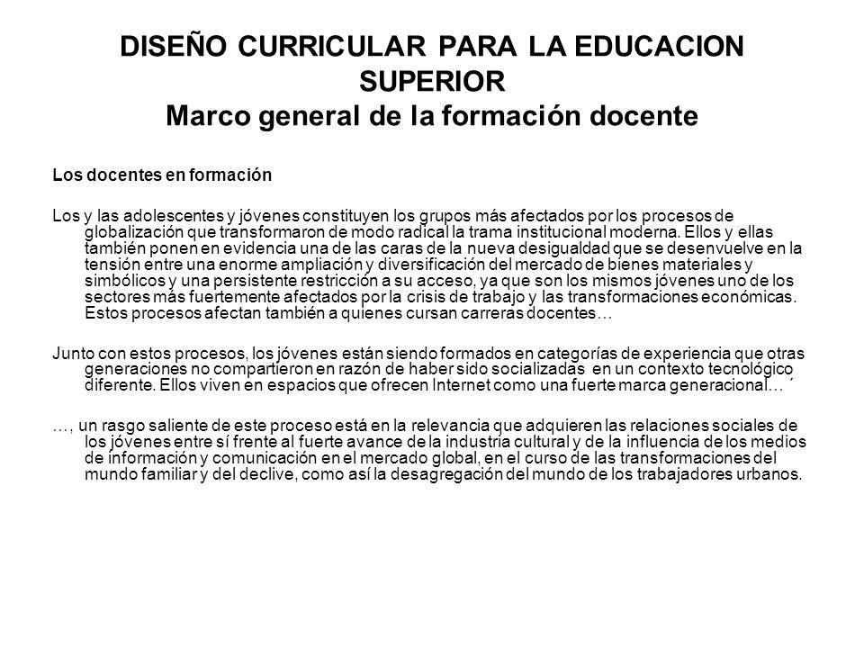 DISEÑO CURRICULAR PARA LA EDUCACION SUPERIOR Marco general de la formación docente
