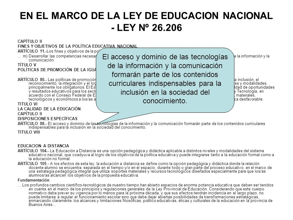 EN EL MARCO DE LA LEY DE EDUCACION NACIONAL - LEY Nº 26.206
