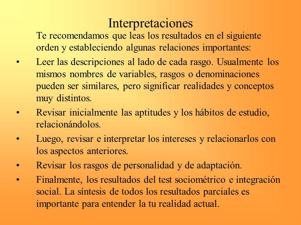 Interpretaciones Te recomendamos que leas los resultados en el siguiente orden y estableciendo algunas relaciones importantes: