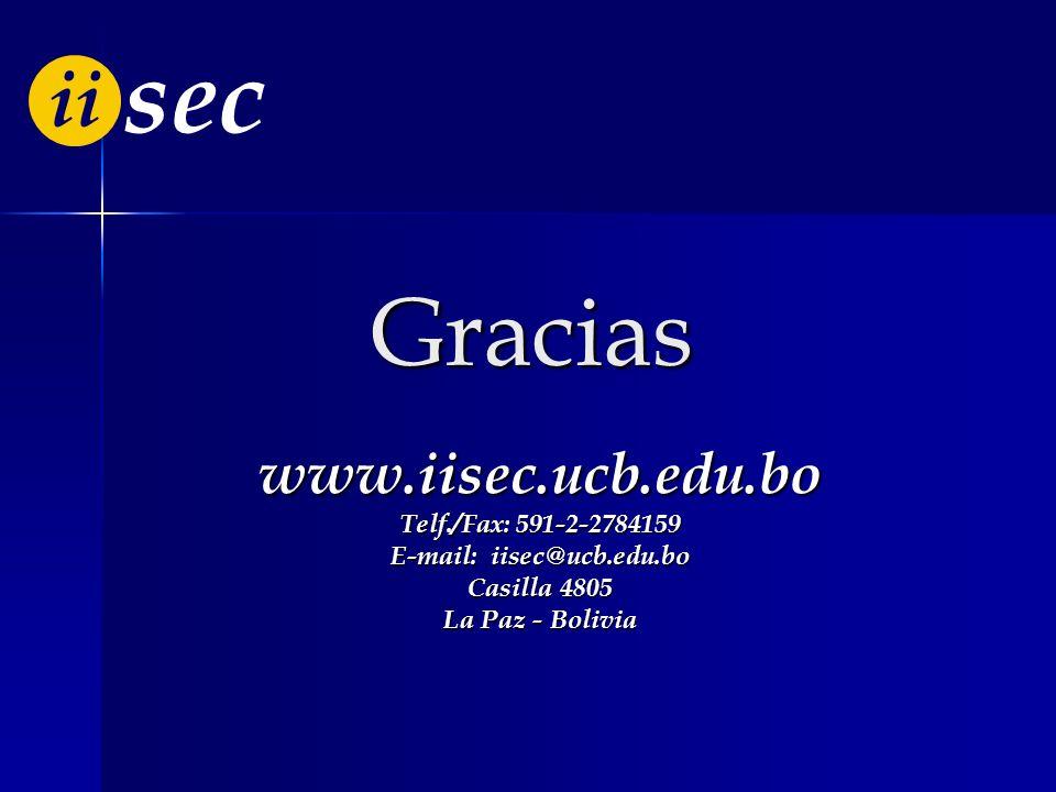 E-mail: iisec@ucb.edu.bo