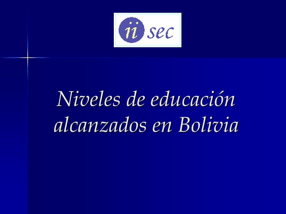 Niveles de educación alcanzados en Bolivia