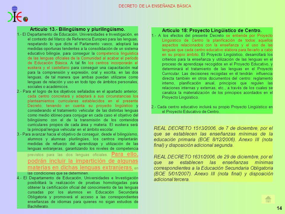 Artículo 13.- Bilingüismo y plurilingüísmo.