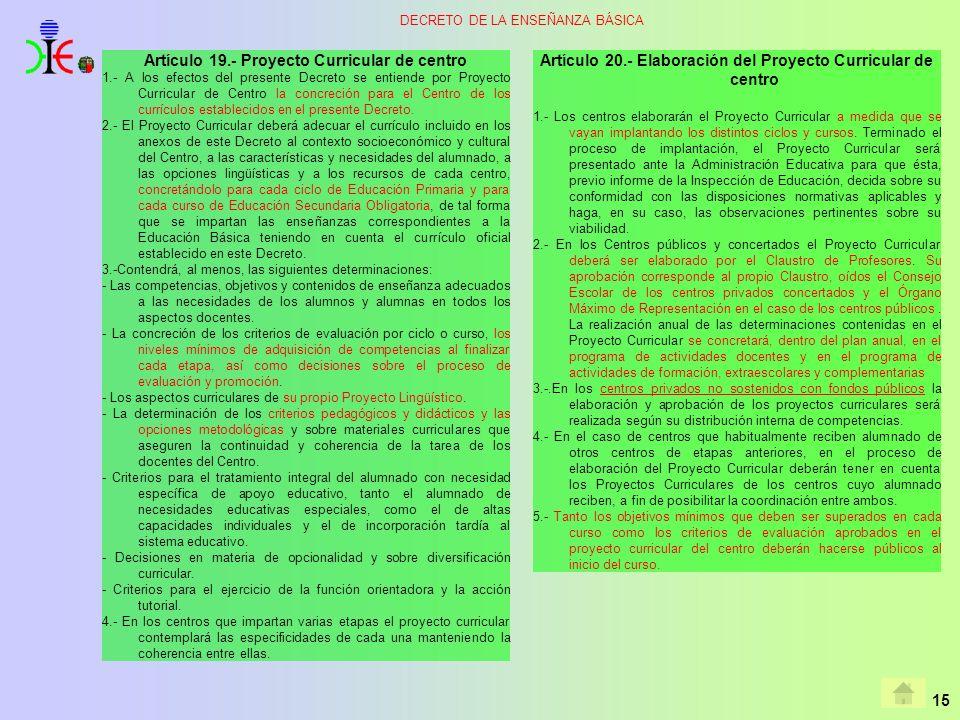 Artículo 19.- Proyecto Curricular de centro