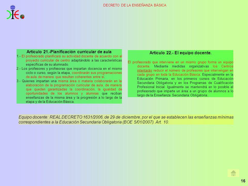 Artículo 21.-Planificación curricular de aula