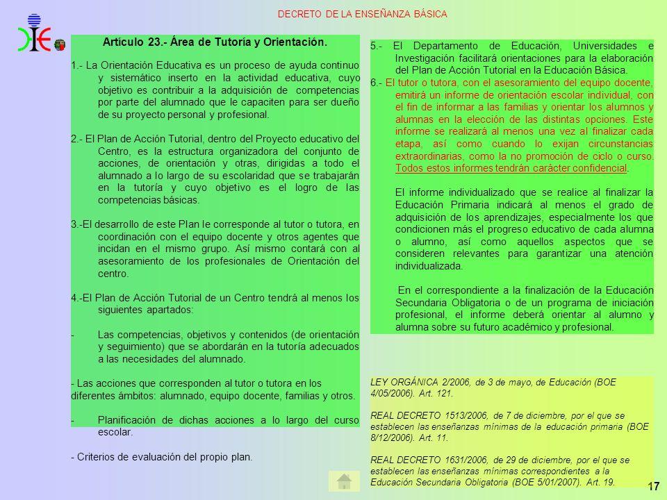Artículo 23.- Área de Tutoría y Orientación.