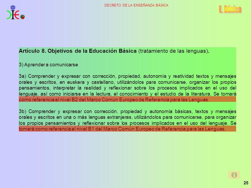 E. Básica Artículo 8. Objetivos de la Educación Básica (tratamiento de las lenguas). 3) Aprender a comunicarse.