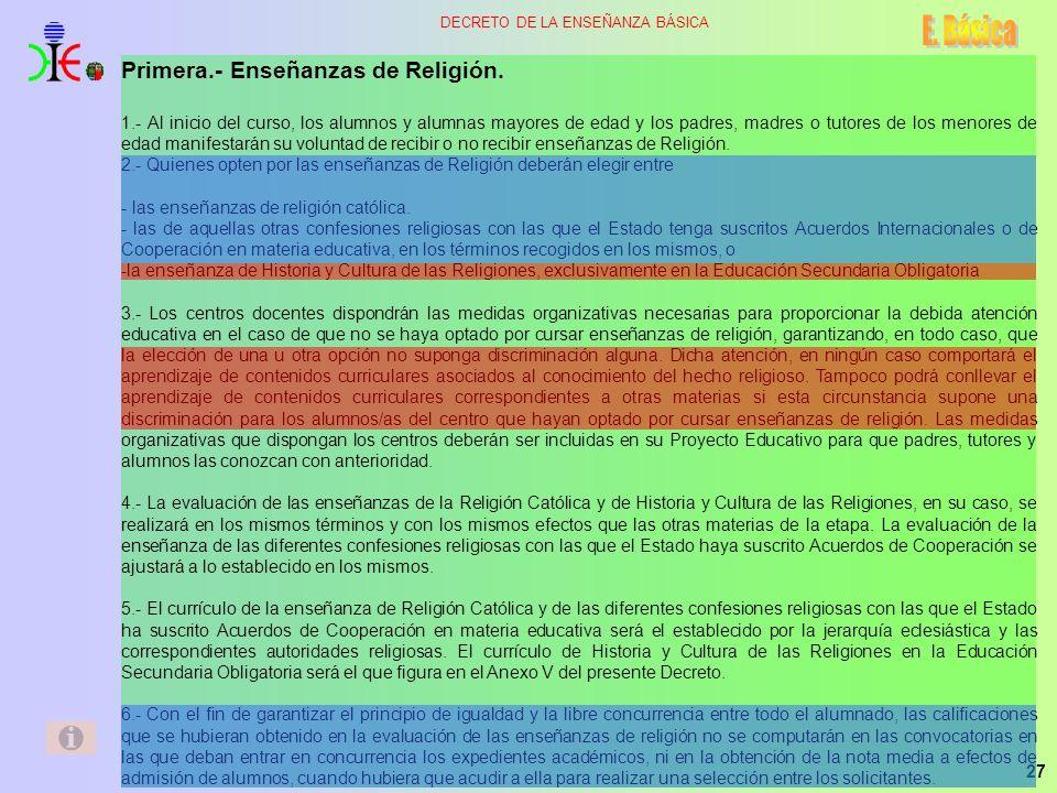 E. Básica Primera.- Enseñanzas de Religión.