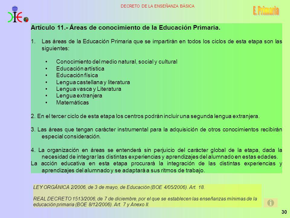 E. Primaria Artículo 11.- Áreas de conocimiento de la Educación Primaria.