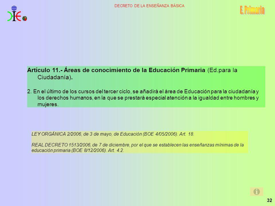 E. Primaria Artículo 11.- Áreas de conocimiento de la Educación Primaria (Ed.para la Ciudadanía).