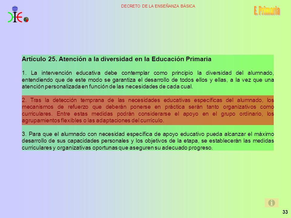 E. Primaria Artículo 25. Atención a la diversidad en la Educación Primaria.