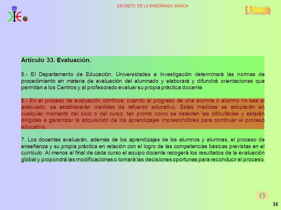 E. Primaria Artículo 33. Evaluación.