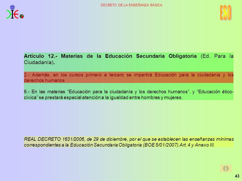 ESO Artículo 12.- Materias de la Educación Secundaria Obligatoria (Ed. Para la Ciudadanía).
