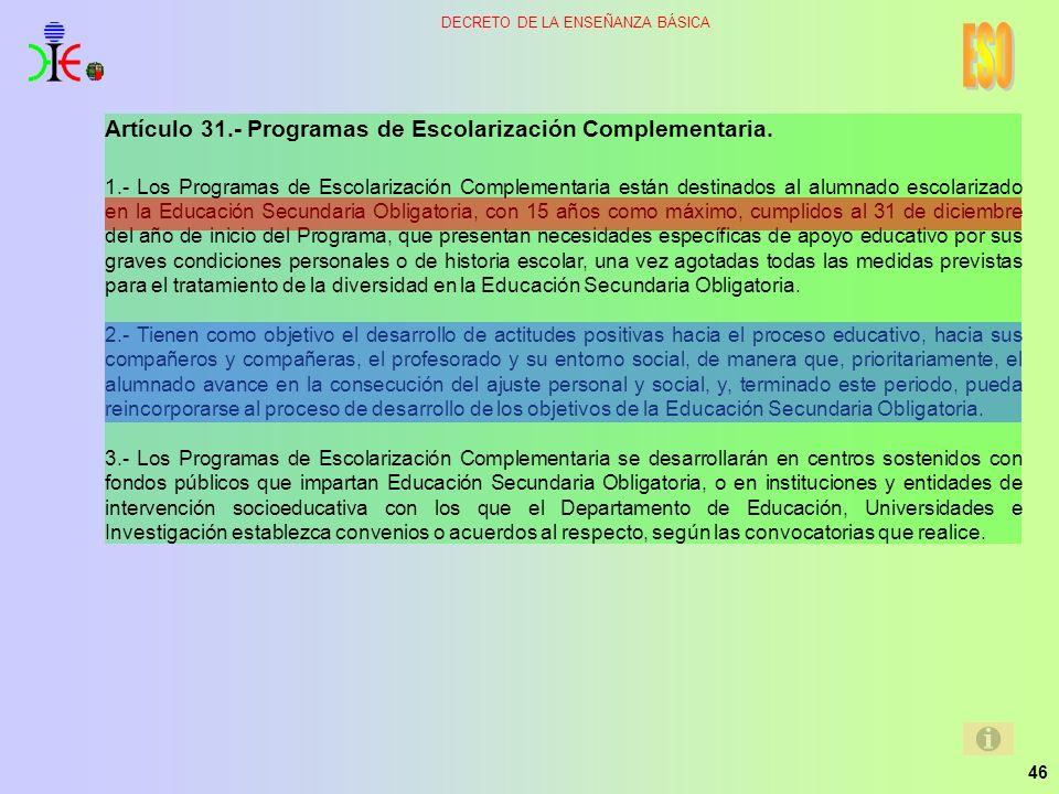 ESO Artículo 31.- Programas de Escolarización Complementaria.