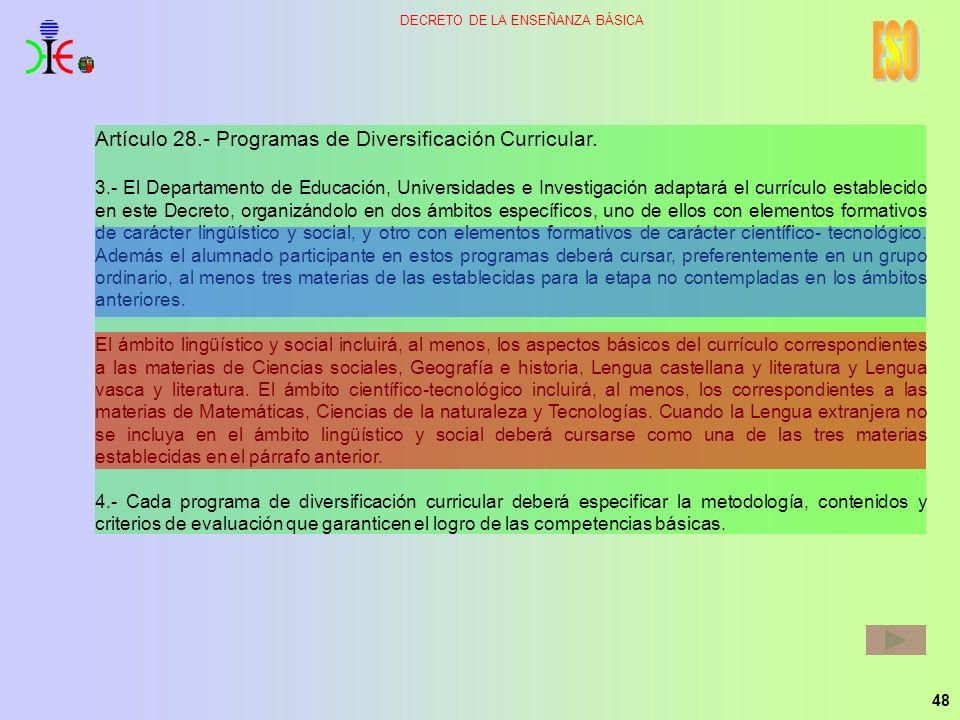 ESO Artículo 28.- Programas de Diversificación Curricular.