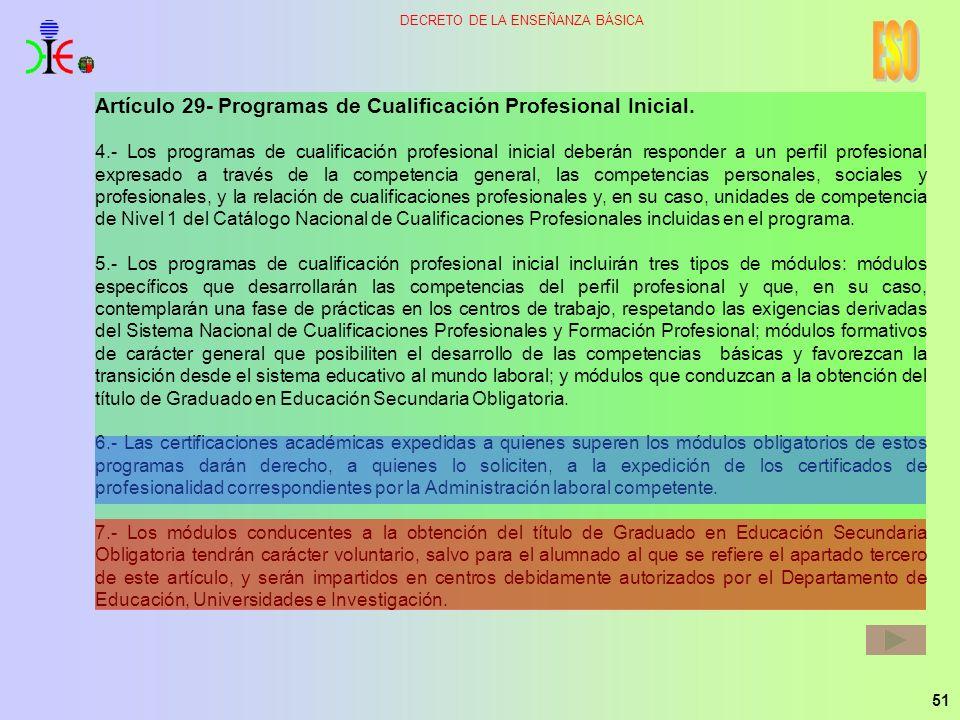 ESO Artículo 29- Programas de Cualificación Profesional Inicial.