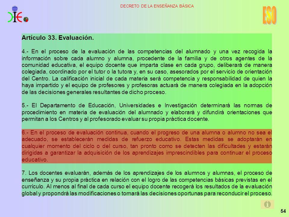 ESO Artículo 33. Evaluación.