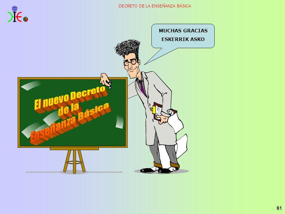 MUCHAS GRACIAS ESKERRIK ASKO El nuevo Decreto de la Enseñanza Básica
