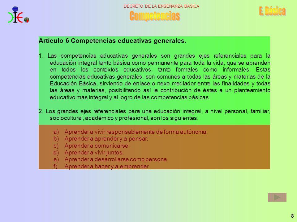 Competencias E. Básica Artículo 6 Competencias educativas generales.