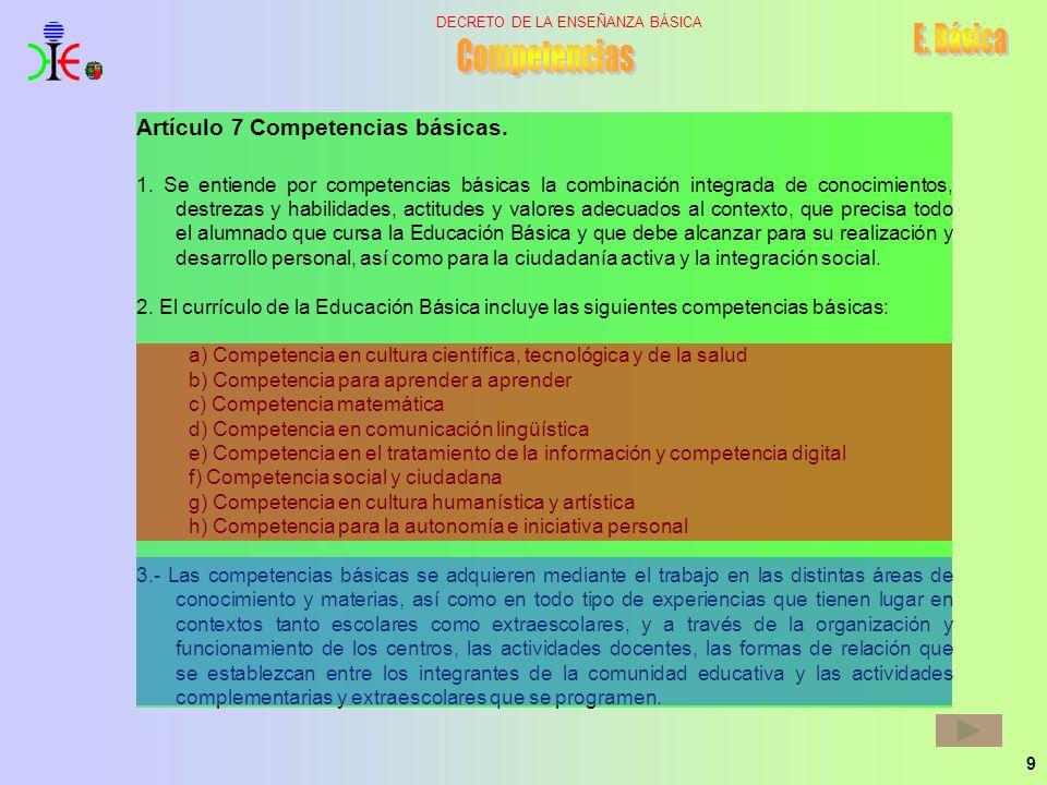 Competencias E. Básica Artículo 7 Competencias básicas.