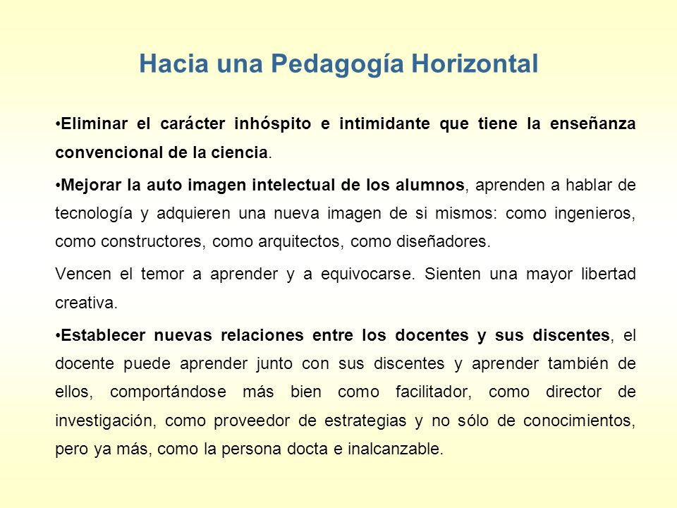 Hacia una Pedagogía Horizontal