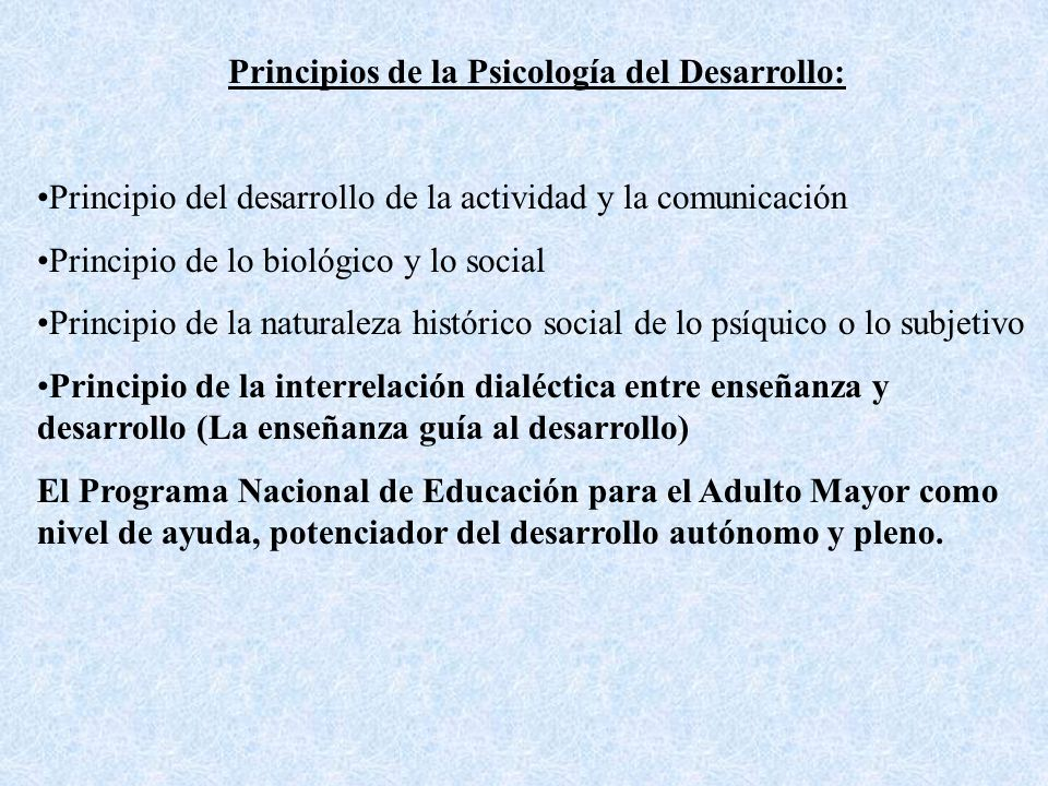 Principios de la Psicología del Desarrollo: