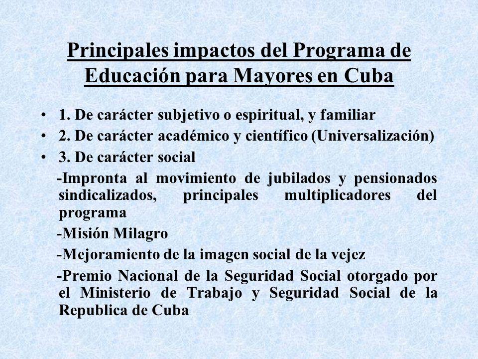 Principales impactos del Programa de Educación para Mayores en Cuba