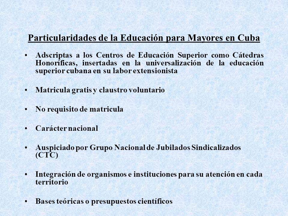 Particularidades de la Educación para Mayores en Cuba