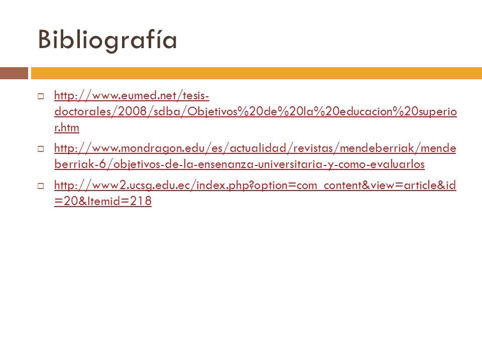 Bibliografía http://www.eumed.net/tesis- doctorales/2008/sdba/Objetivos%20de%20la%20educacion%20superio r.htm.
