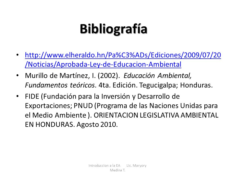 Introduccion a la EA Lic. Maryory Medina T.