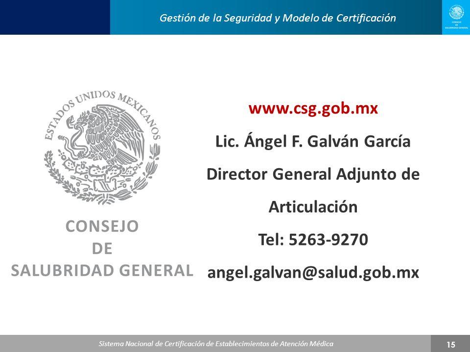 Lic. Ángel F. Galván García Director General Adjunto de Articulación