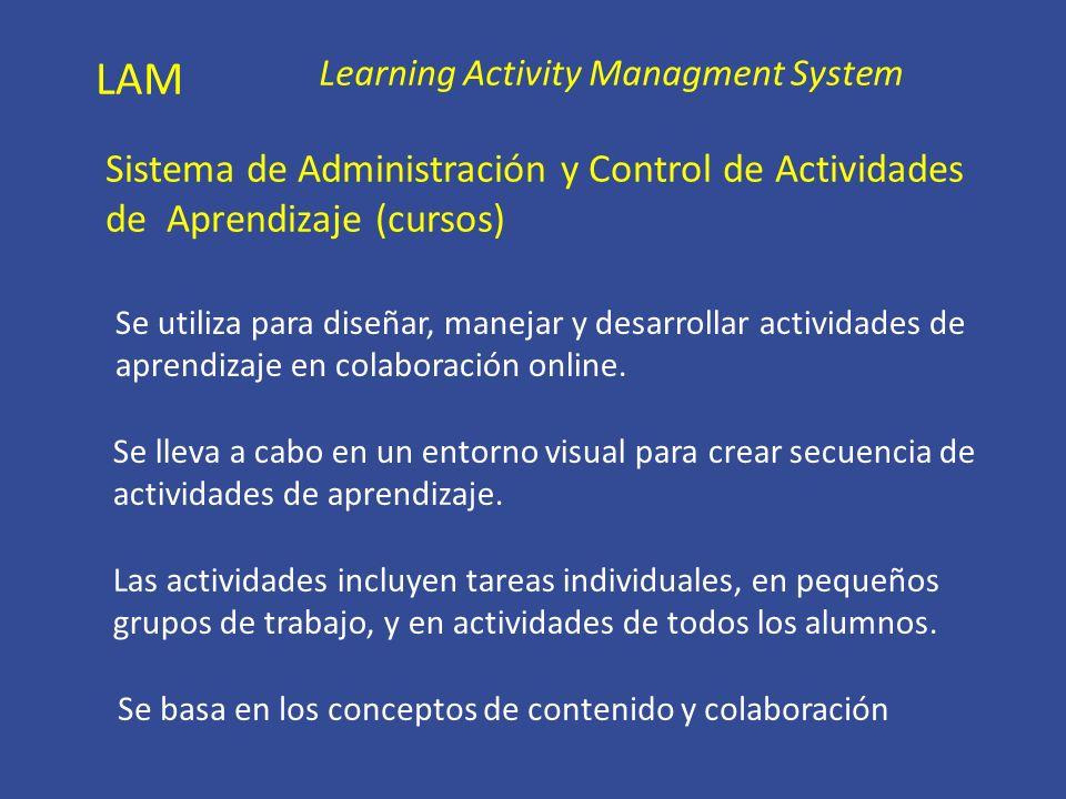 LAM Learning Activity Managment System. Sistema de Administración y Control de Actividades de Aprendizaje (cursos)
