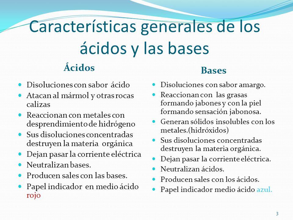 Características generales de los ácidos y las bases
