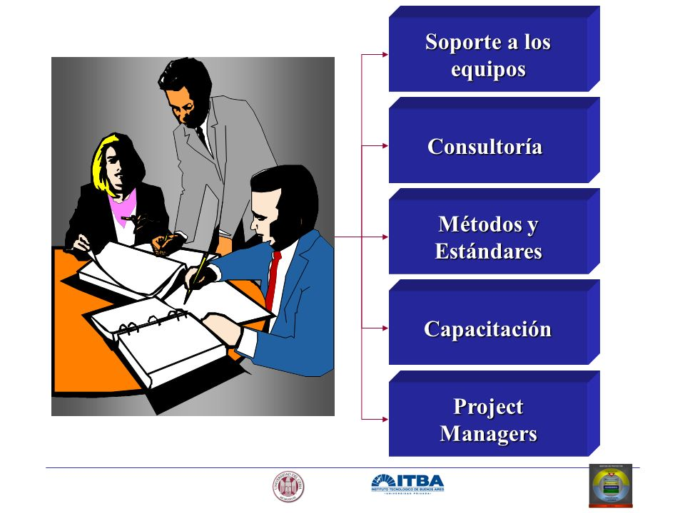 Soporte a los equipos Consultoría Métodos y Estándares Capacitación Project Managers