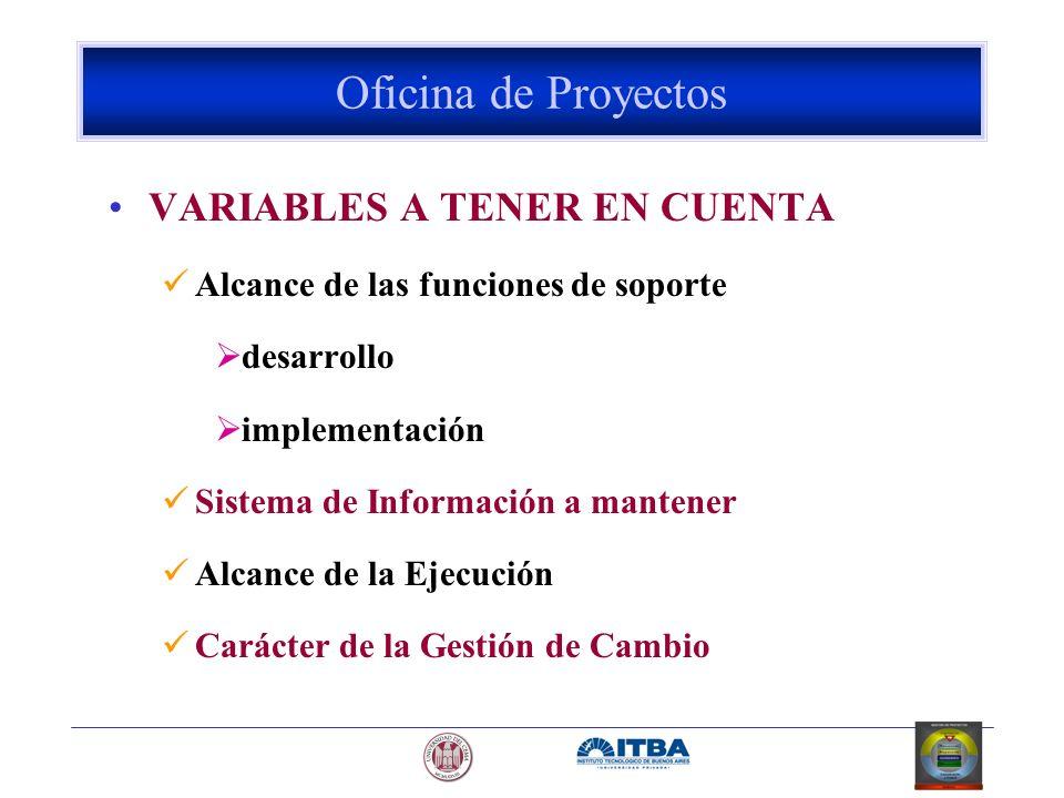 Oficina de Proyectos VARIABLES A TENER EN CUENTA