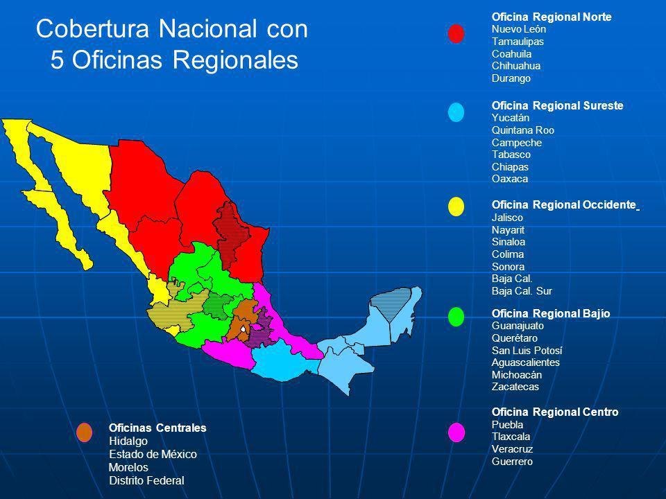 Cobertura Nacional con 5 Oficinas Regionales