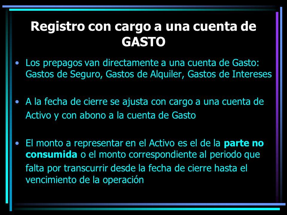 Registro con cargo a una cuenta de GASTO