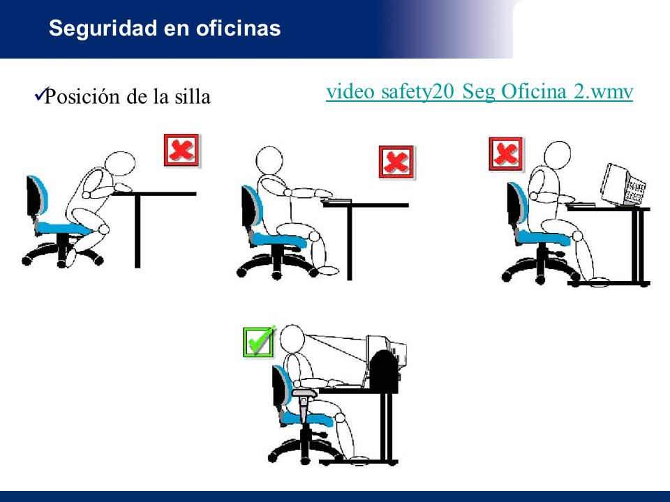 Seguridad en oficinas video safety20 Seg Oficina 2.wmv Posición de la silla