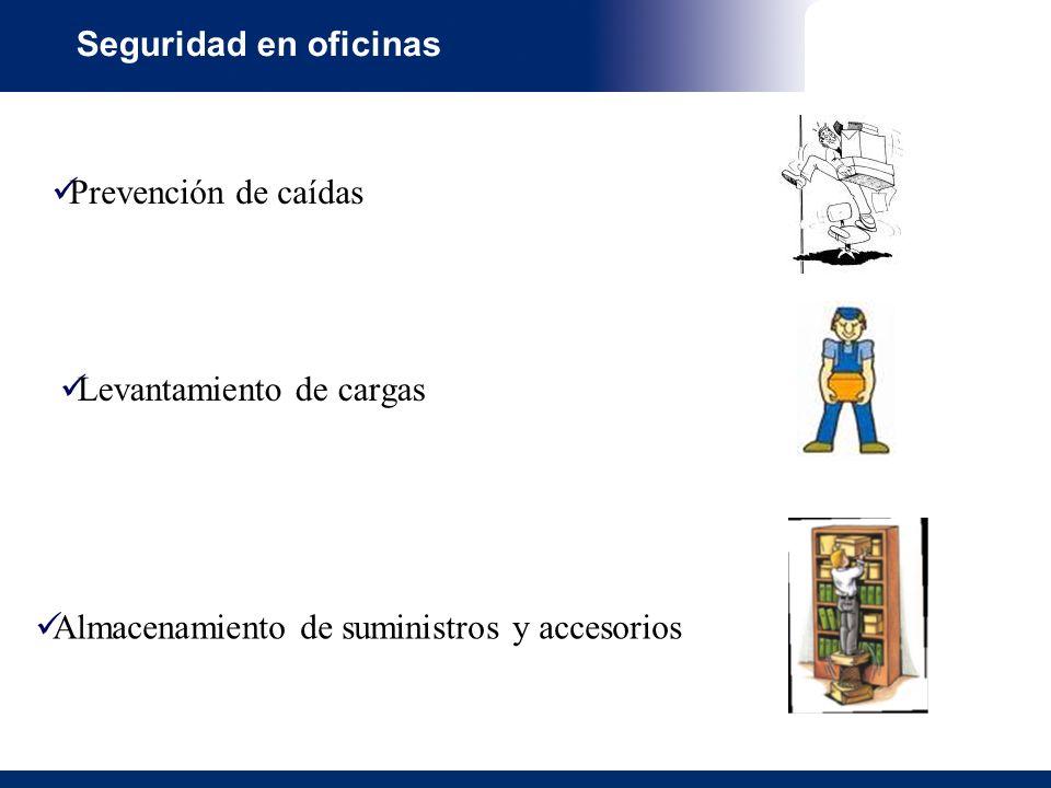 Seguridad en oficinas Prevención de caídas. Levantamiento de cargas.