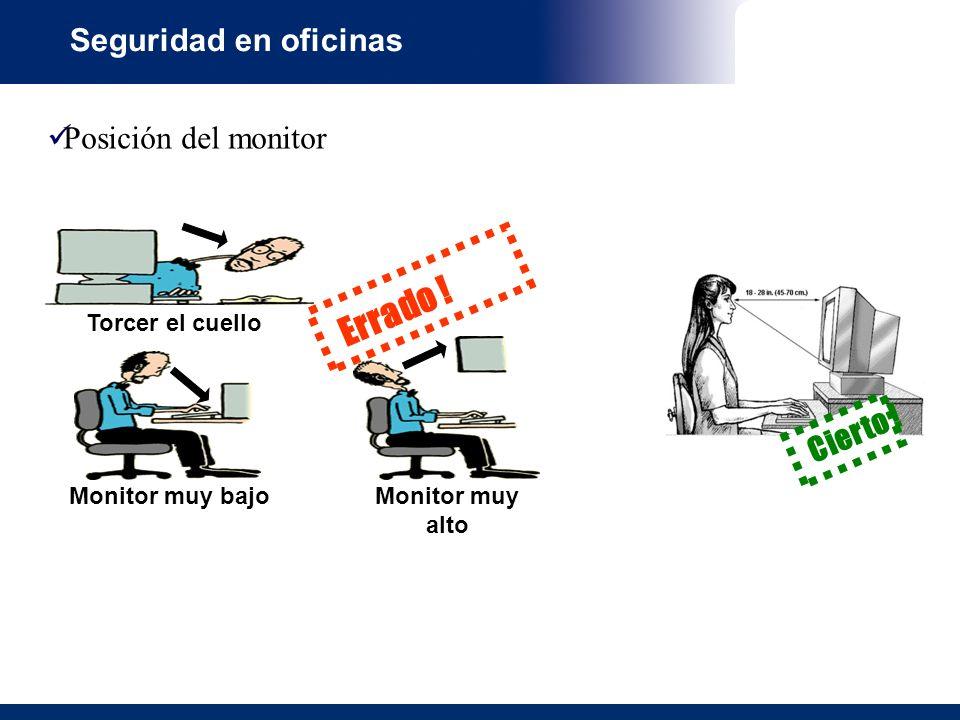 Errado ! Seguridad en oficinas Posición del monitor Cierto !