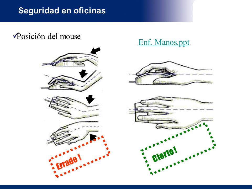 Seguridad en oficinas Posición del mouse Enf. Manos.ppt Cierto ! Errado !