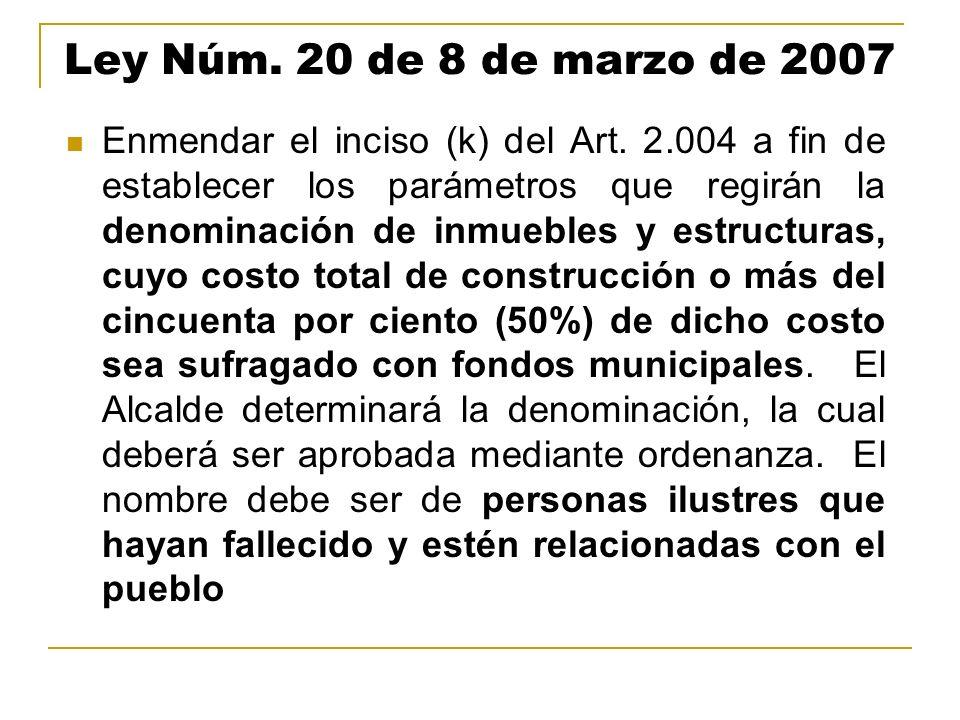 Ley Núm. 20 de 8 de marzo de 2007