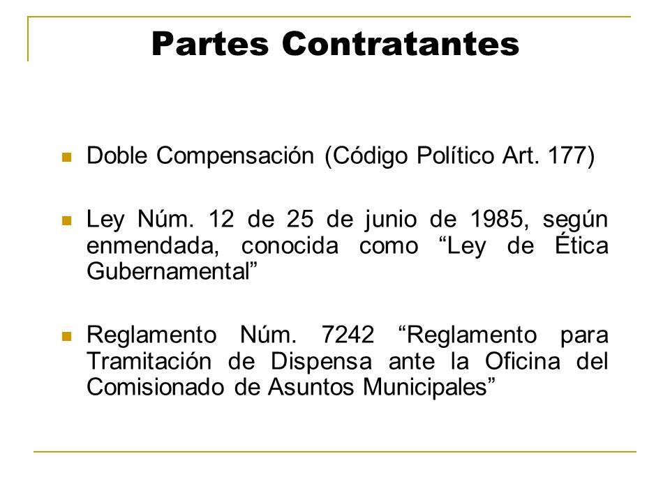 Partes Contratantes Doble Compensación (Código Político Art. 177)