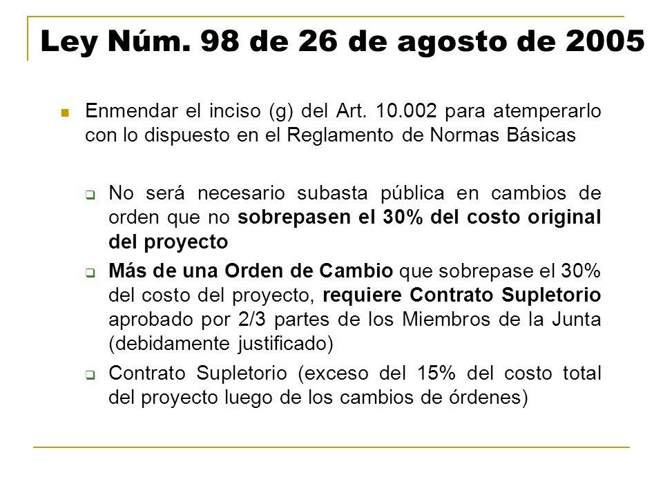 Ley Núm. 98 de 26 de agosto de 2005 Enmendar el inciso (g) del Art. 10.002 para atemperarlo con lo dispuesto en el Reglamento de Normas Básicas.