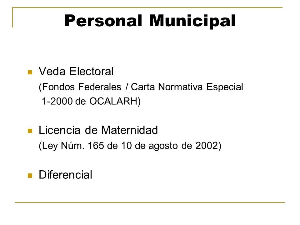 Personal Municipal Veda Electoral Licencia de Maternidad Diferencial